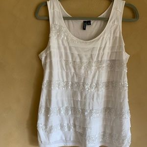 White sequin and cotton tank top